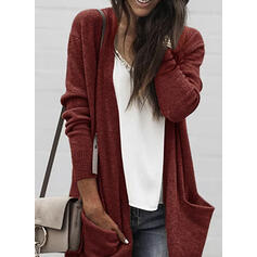 Solid Lommer Casual Lang Cardigan