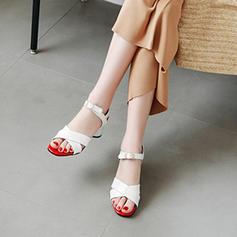 De mujer PU Tacón ancho Sandalias Salón Encaje Solo correa con Hebilla zapatos