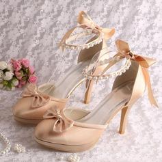 Women's Silk Like Satin Stiletto Heel Platform Pumps With Pearl