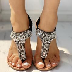 De mujer PU Tacón plano Sandalias Encaje con Rhinestone Banda elástica zapatos