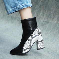 Women's Leatherette Chunky Heel Pumps Boots Mid-Calf Boots With Zipper Split Joint shoes
