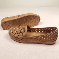 Kvinder Plast Flad Hæl Fladsko med Satinsløjfe Udhul sko