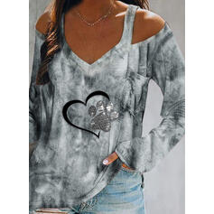 Print Sequins Tie Dye Heart Cold Shoulder Long Sleeves Casual Blouses