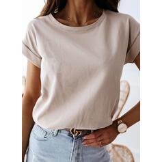 Sólido Gola Redonda Manga Curta Casual Camisetas