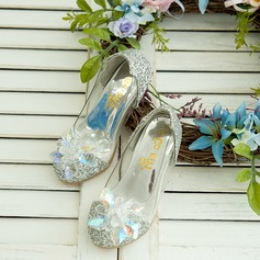 Girl's Sparkling Glitter Low Heel Closed Toe Flats Flower Girl Shoes With Rhinestone