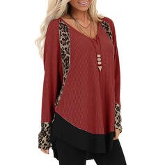 Leopard V-Neck Long Sleeves Casual Knit Blouses
