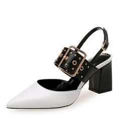 Dla kobiet PU Obcas Slupek Sandały Zakryte Palce Z Klamra obuwie