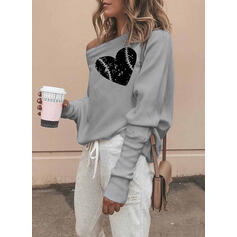 Print One Shoulder Long Sleeves Sweatshirt