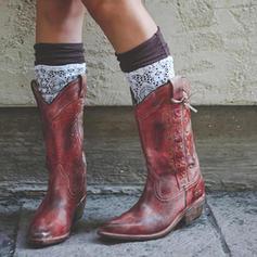 Femmes PU Talon bottier Bottes Bottes mi-mollets avec Boucle chaussures