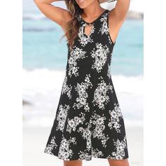 Print/Floral Sleeveless A-line Above Knee Boho/Vacation Dresses