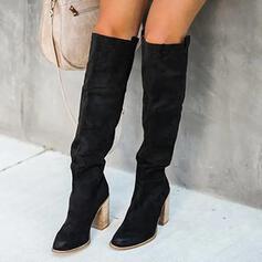 Frauen PU Stämmiger Absatz Stiefel über Knie Heels Spitze mit Geraffte Einfarbig Schuhe