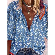 V-λαιμός Μακρυμάνικο Χωρίς Κουμπιά Κολάρου Καθημερινό Μπλούζες Πουκάμισα