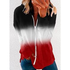 Blok Koloru Gradient Bluza z kapturem Długie rękawy Bluza
