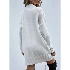 Sólido Cuello De Capucha Casuales Largo Vestido de Suéter