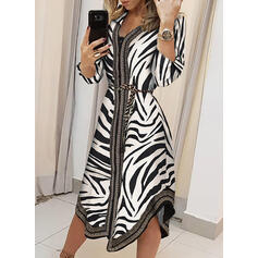Print Long Sleeves A-line Asymmetrical Casual/Vacation Skater Dresses