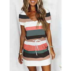 Print/Color Block/Striped Short Sleeves Sheath Above Knee Casual Dresses