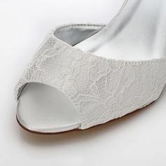 Frauen Spitze Satin Keil Absatz Peep-Toe Sandalen Färbbare Schuhe