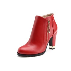 Women's Leatherette Chunky Heel Platform Ankle Boots With Zipper shoes