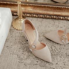 Mulheres Camurça Salto robusto Sandálias com Fivela sapatos