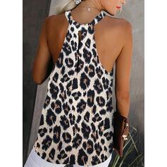 Leopardo Gola Redonda Sem Mangas Casual Sexy Blusas
