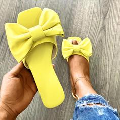 Γυναίκες PU Επίπεδη φτέρνα Σανδάλια Παντούφλες Με Bowknot παπούτσια