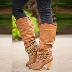 Femmes PU Talon bottier Escarpins Bottes avec Boucle chaussures