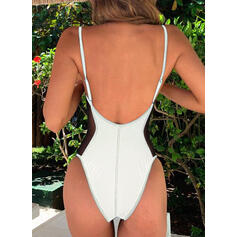 Solid Color Mesh Strap Sexy Elegant One-piece Swimsuits