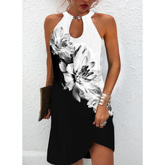 Imprimeu/Floral/Renkli klişe Kolsuz Shift Elbiseleri Deasupra Genunchiului Elbiseler