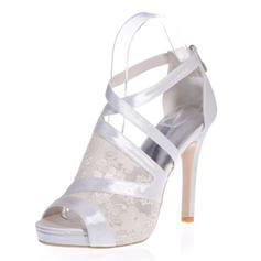 Frauen Spitze Satin Stöckel Absatz Peep-Toe Plateauschuh Sandalen mit Reißverschluss Zweiteiliger Stoff