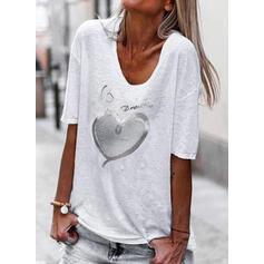 Serce Nadruk cekiny Wytłaczany Dekolt w kształcie litery V Rękawy 1/2 T-shirty
