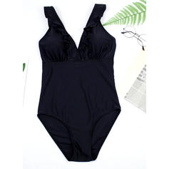 Solid Color Thong Strap V-neck Sexy One-piece Swimsuits