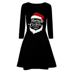 Impresión Manga Larga Acampanado Hasta la Rodilla Navidad/Fiesta Vestidos