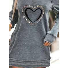 Print/Sequins/Heart Long Sleeves Shift Above Knee Casual Sweatshirt Dresses