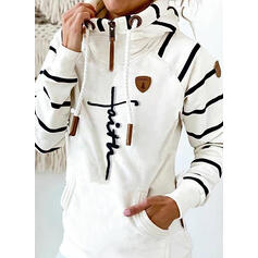 Print Striped Figure Long Sleeves Hoodie
