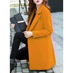Cotton Long Sleeves Plain Slim Fit Coats