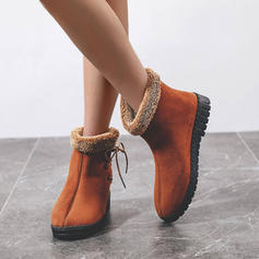 Women's PU Flat Heel Ankle Boots With Lace-up shoes