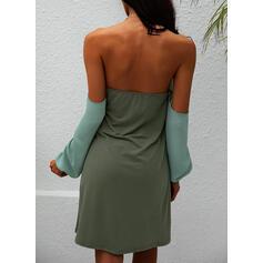 固体/バックレス 長袖 シフトドレス 膝上 カジュアル チュニック ドレス