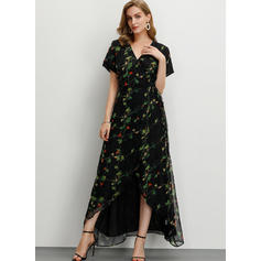 Print/Floral Short Sleeves A-line Maxi Casual/Party/Elegant Dresses