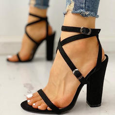 Women's PU Chunky Heel Sandals Pumps With Lace-up shoes