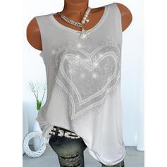 Heart Sequins Round Neck Sleeveless Tank Tops