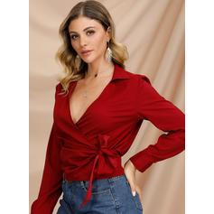 Solid lapel Långa ärmar Fritids Elegant Skjorta Blusar