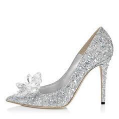 Жіночі Шкіра Шпилька Насоси Закритий палець з Сіяючі камені Кристал взуття