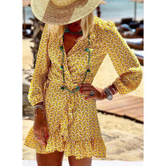 Print Long Sleeves Sheath Above Knee Casual/Vacation Dresses