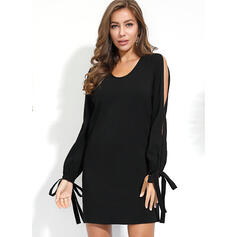 Solid Long Sleeves/Cold Shoulder Sleeve Shift Above Knee Little Black/Casual Dresses