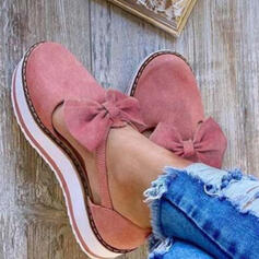 Women's Suede Flat Heel Flats Round Toe With Bowknot shoes