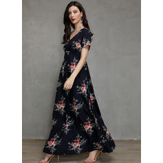 Print/Floral Short Sleeves A-line Casual/Elegant/Vacation Maxi Dresses