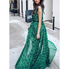 Print Sleeveless A-line Maxi Casual/Vacation Dresses