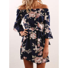 Print/Floral 3/4 Sleeves A-line Above Knee Casual Dresses