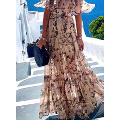 Print 1/2 Sleeves A-line Skater Sexy/Casual/Vacation Maxi Dresses