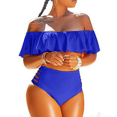 Solid Color High Waist Ruffles Off the Shoulder Sexy Attractive Bikinis Swimsuits